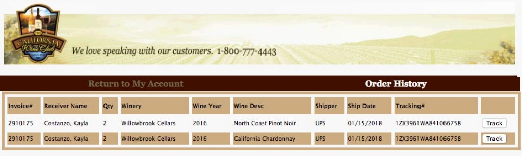 The California Wine Club Shipping/Tracking