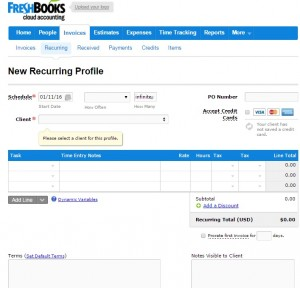 Recurring Invoices in FreshBooks