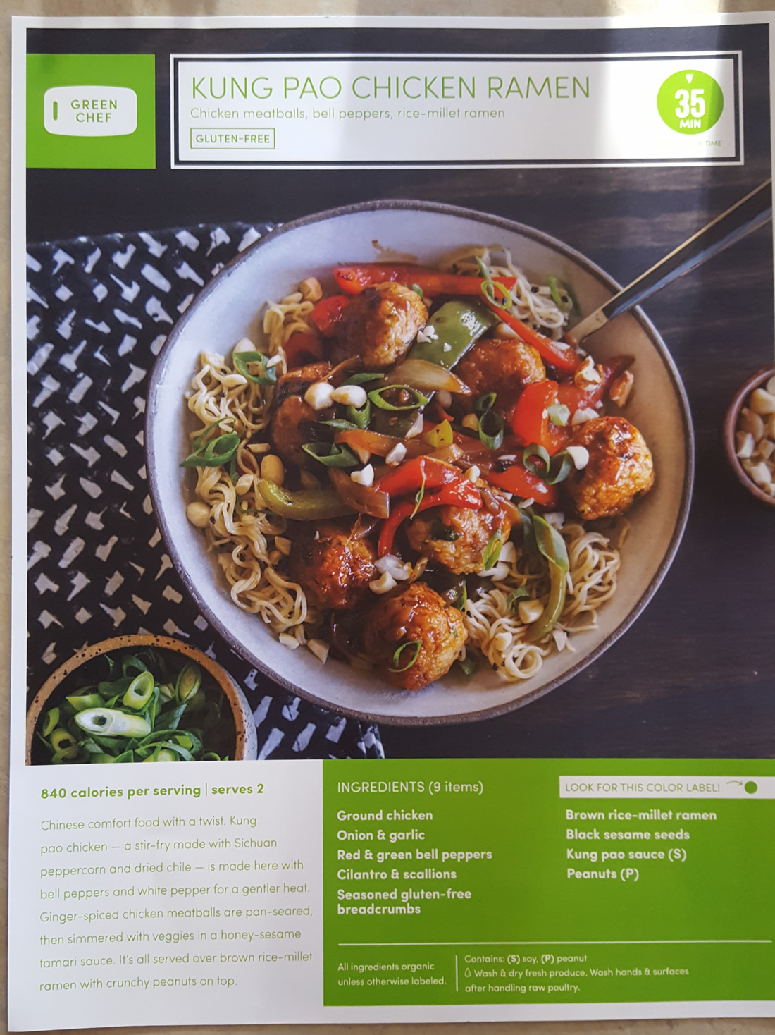 Green Chef Kung Pao Chicken Recipe Front