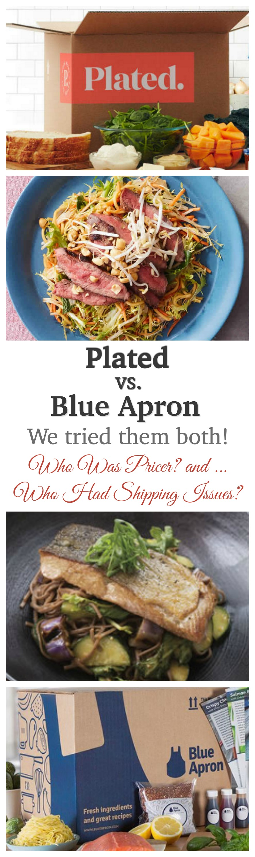 Plated vs. Blue Apron - We tested them both. Find out who was pricier and who had consistent shipping issues!