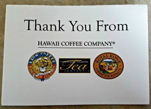 Hawaii Coffee Company thank you note