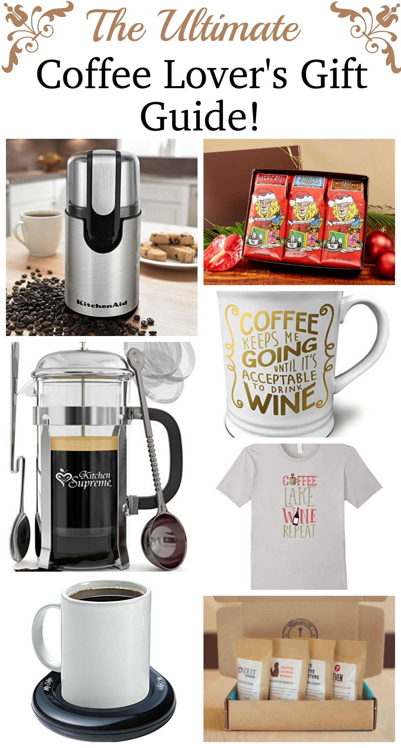 Great Gift Ideas for that Coffee Lover on your gift list! Coffee Lovers Gift Guide!