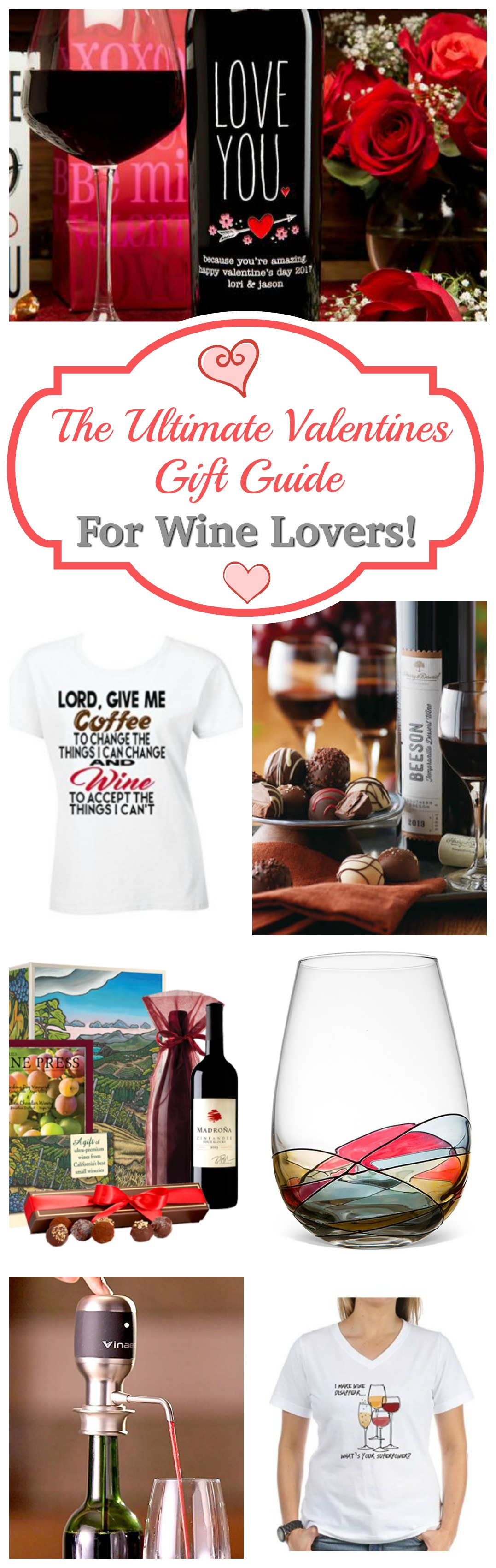 Great Gift Ideas for your Valentine's Wine Lover! We LOVE the etched wine bottles! #gift
