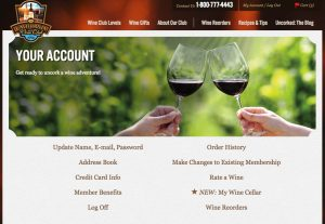 The California Wine Club My Account Page