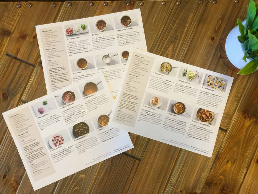 Martha and Marley Spoon Recipe Card Instructions