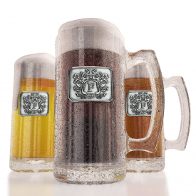 Glass Beer Stein With Pewter Monogram