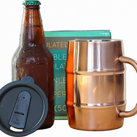 Double Wall Stainless Steel, Copper Plated Beer Mug
