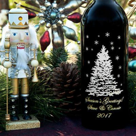 Personalized Shimmering Tree Etched Wine