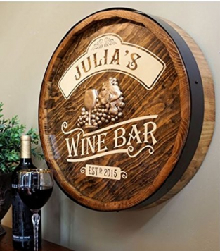 Wine Bar Barrel End Personalized Sign