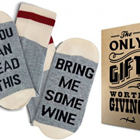 "Wine Socks + Gift Box: ""If you can read this bring me some Wine"""